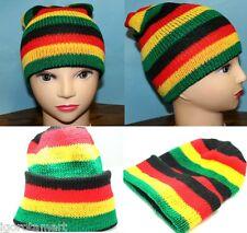 Afro Jamaican Warm Winter Knit Ski Beanie Skull Slouchy Rasta Cap Hat UK Post
