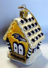 Baltimore Ravens Gingerbread House Blown Glass Christmas Ornament FREE SHIP
