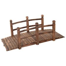Solid Fir Wood 5-Ft Arch Garden Bridge Walkway - Great for Pond Landscaping