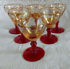 Set of 6 Vintage Retro Red and Gold Striped Cocktail Glasses