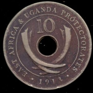 1913 East Africa & Uganda Protectorate 10 Cents Extremly Rare Date Mintage 50000