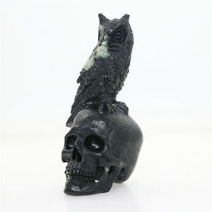"Height 3.9"" 217g PEONY STONE Carved Owl Crystal Skull Crystal Healing"