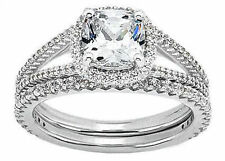 1.22 ct center Cushion cut Diamond Halo Engagement Solitaire 14k White Gold Ring