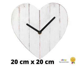 Quality Heart Shaped Wall Clock Vintage Style Shabby Chic Home Decor Gift 20cm