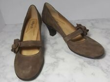 Softspots Mary Jane Light Brown Leather Suede Heels Pumps Shoes Size 9.5M