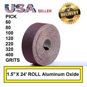 """1.5"""" x 24' Emery Cloth Rolls 60 80 100 120 220 320 400 Grit Sandpaper"""