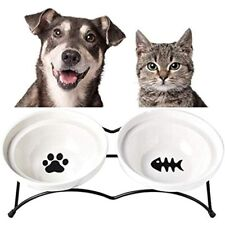 New listing Cat Food Bowls - Ceramic Raised Cute Pet Feeder For Cats And Small Dogs Elevated