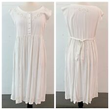 France Fashion White Rayon Embroidered Prairie Summer Nightgown One Size