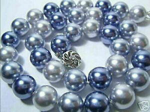 """each knot 14 mm Blue Silver Gray Multicolor South Sea Shell Pearl Necklace 20"""""""