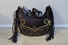 NWT Michael Kors Rhea Studded Leather Small Shoulder Crossbody Bag DarkChocolate