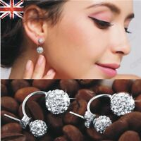 Genuine 925 Sterling Silver Stud Earrings Silver Crystal Double Stud Earrings