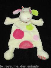 Doudou plat Vache écru rose verte ronds Babysun 30 cm