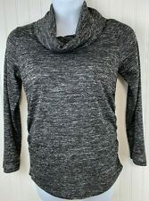 Women's LARGE 12-14 Maternity Knit Long Sleeve Top Cowl Neck Black Gray       A1