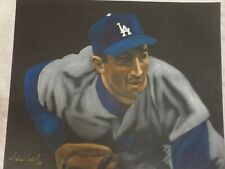 SANDY KOUFAX SIGNED 16X20 REAL OIL PAINTING STUNNING IMAGE