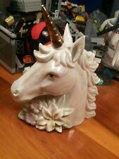 "Ceramic Unicorn Bust/Head Figurine With Gold Horn 6.5"" Blue Iridescent Glaze"