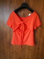 JACK WILLS T-SHIRT Coral Orange Top Tie Back UK 10 / 38 / US 6 - NEW