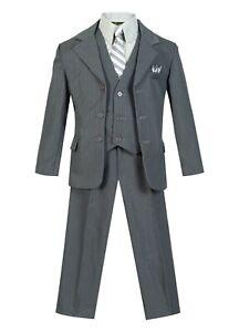 Slim Fit Toddler Boys Formal striped suit 5 pcs set coat,vest,pant,shirt,tie