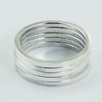 Silver ring stackable 925 silver stack of 5 band rings in each set size 9us