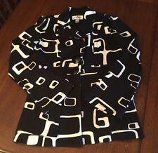 Joseph Ribkoff Jacket Blazer Coat Black & White Geometric Fitted Sz 6
