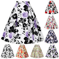 Women's Vintage High Waist Floral Flower A-Line Flared Skater Skirt Midi Dress