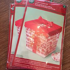 WILSON Cookie Containers pack of 3 patterned clear boxes ribbon tags NIP