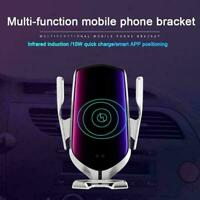 360° Automatic Wireless Fast Silver Car  Charger Mount Clamping Phone Holder UK