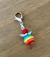 Rainbow Guardian Angel Clip On Charm For Bracelet, Hippy, Gay Pride, Great Gift
