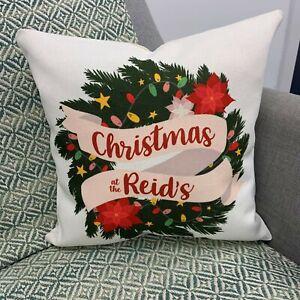 Personalised Family Christmas Wreath Cushion - Gift Set Holiday Decor Christmas