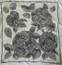 """GIVENCHY Lace Floral Rose Lace 33"""" x 31"""" Scarf"""