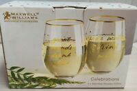 Maxwell & Williams Celebrations Stemless Glasses Pair Boxed MIB 500ml FK00W2