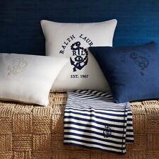 RALPH LAUREN Lucille Decorative Pillow 18 x 18 Navy Blue Nautical Brand New