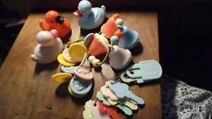 Vintage Lot Baby Rattles Hard Plastic Teethers