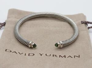 David Yurman Sterling Silver 5mm Cable Prasiolite w/ Diamonds Bracelet