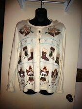 Bechamel Ugly Christmas Sweater Cardigan Off White Women 1X Beaded Appliqué NWOT