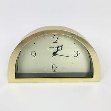 Daniel Dakota Mantle Shelf Clock Brushed Brass & Glass Made In Korea 80s Modern