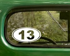 2 NUMBER 13 DECALs Bad Luck Funny Oval Sticker for Car Truck Bumper Rv Laptop