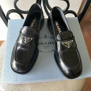 Prada Logo Brushed Black Leather Loafers Women Size 37.5