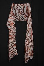 White Dark Blush & Brown Tiger Print Sheer Cute & Girly Casual Wear Scarf (S187)