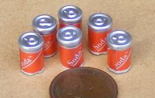 1:12th 6 Small Cola Pop Soda Cans Dolls House Miniature Pub Bar Cafe Shop Drink