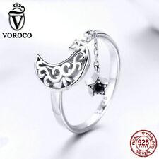 Charm Cz For Bracelet Necklace Voroco 925 Sterling Silver Moon&stars Pendant