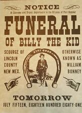 Vintage BILLY THE KID Funeral Notice on Brown Parchment Paper Made in USA 1970's