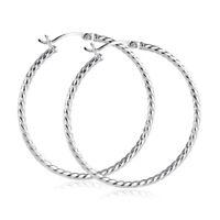MATERIA Creolen Silber 925er 30mm 40mm groß - Damen Ohrringe gekordelt in Etui