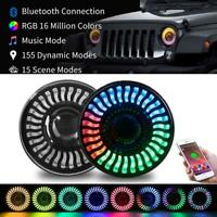 7Inch Round RGB Halo LED Headlights APP Control for 97~18 Jeep Wrangler JK TJ LJ