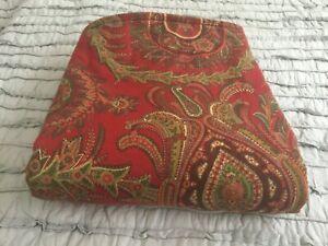 POTTERY BARN Duvet Cover CAROLINE PAISLEY King Size Red/Green
