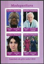 Madagascar 2019 MNH Nobel Prize Winners 2018 4v IMPF M/S Peace Physics Stamps