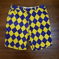Loudmouth Shorts Golf LSU Geaux Tigers Mens 36 Argyle Purple Gold Yellow Lakers