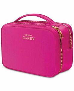 PRADA Hot Pink Fabric Pouch Vanity Cosmetic Toiletry Makeup Travel Case Bag