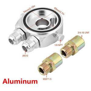 Aluminum Car Engine Oil Filter Sandwich Plate Adapter Sensor 3/4-16 UNF M20x1.5