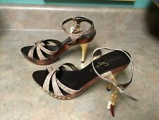 Women's REPORT Signature PEPPER Brown & Gold Sandals Heels Size 7M (CON6)