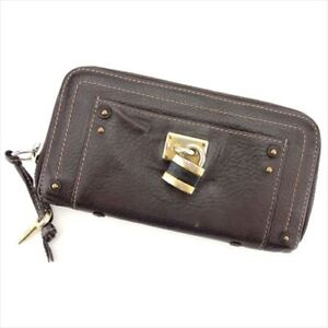 Chloe Wallet Purse Paddington Brown leather Woman Authentic Used S890